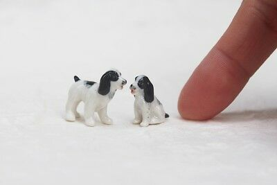 Animal 2 English Springer Spaniel Dog Figurine Handmade Miniature Ceramic Gift