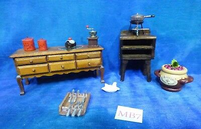 Vintage Victorian Doll House Dollhouse Room Lot: Buffet & Food Set, Acc MB7