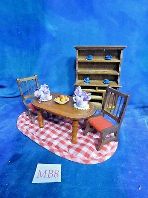 Vintage Victorian Doll House Dollhouse Room Lot: Dining Room Set, Acc MB8