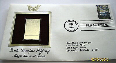 First Day Issue Stamp 22kt Gold replica Louis Comfort Tiffany Magnolias & Irises
