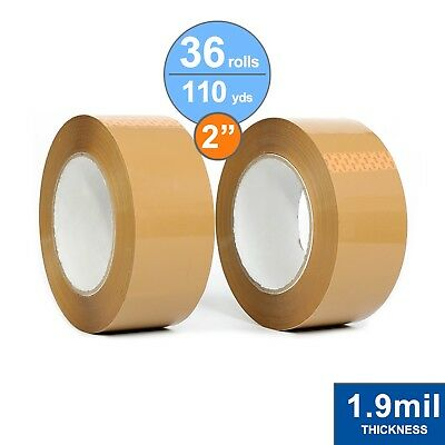 """36 Rolls Package Tape 2"""" X 110 Yards / Carton Sealing Tape / 1.9Mil Thick / Tan"""