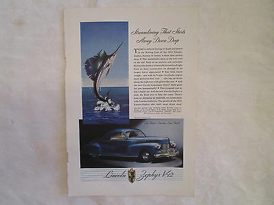 1942 Lincoln Zephyr V12 Coupe Original Print Ad from January 1942