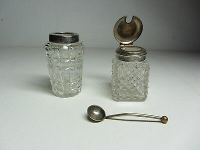 Vintage silver plate Cut Glass Mustard Pots and spoon