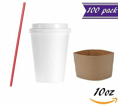 (Set of 100) 10 oz Disposable Coffee Cups with Dome Lids and Sleeves, Stirrers