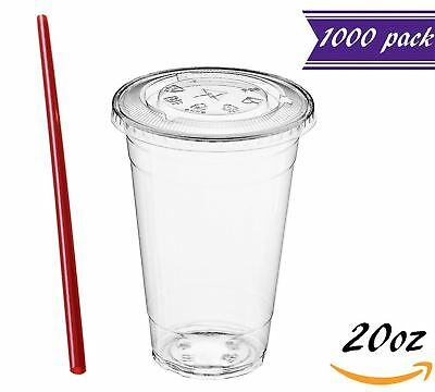 (1000 Sets) 20 oz Clear Plastic Cups with Lids and FREE Straws, Disposable