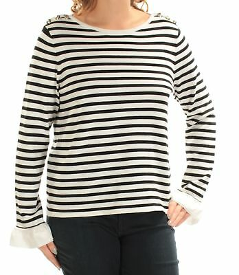 7a8f20b434c TOMMY HILFIGER  79 Womens New 1536 Ivory Striped Boat Neck Long Sleeve Top  L B+