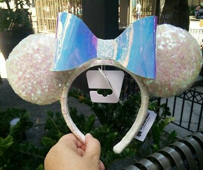Disney Parks Iridescent Glitter Sequin Minnie Mouse Ears Headband -IN HAND