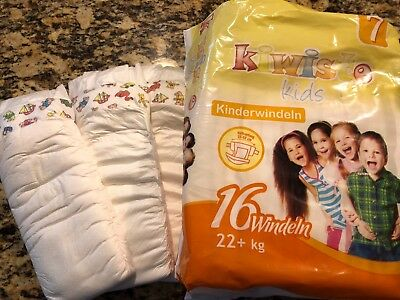 (3) Kiwisto Size 7 Diapers for Kids 22kg+ sample size (three individual diapers)