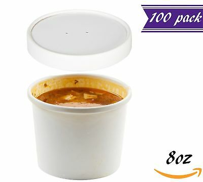 (Set of 100) 8-Ounce Poly-Coated White Paper Soup Containers with Vented Lids