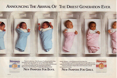 1990 Ultra Pampers Diapers - For Boys For Girls babies 2 Page Vintage Print Ad