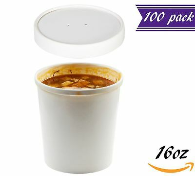 (Set of 100) 16 oz White Paper Soup Containers with Lids Combo Pack, Hot / Cold