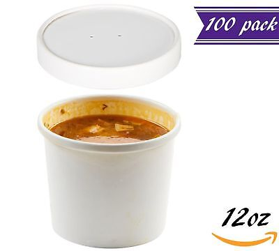 (Set of 100) 12 oz White Paper Soup Containers with Lids Combo Pack, Hot/Cold
