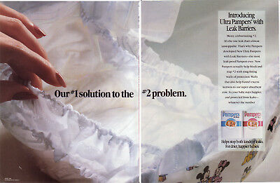 1990 Ultra Pampers Diapers - Boys Girls Leak Barriers 2 Page Vintage Print Ad