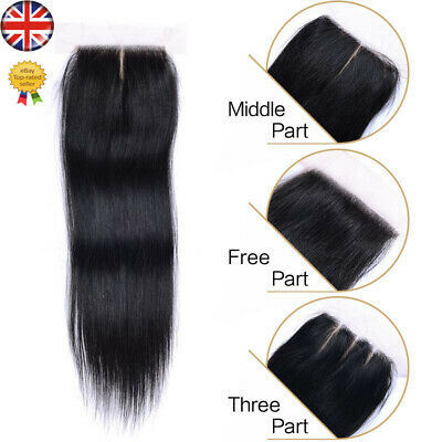 Hair Parting Top Closure Brazilian Virgin Remy 6A Human Hair Swiss Lace 4x4""