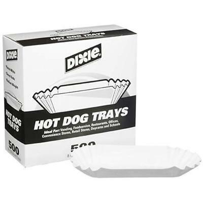 "Dixie 8"" Disposable Plates Bowls & Cutlery Fluted Hot Dog Tray 500ct"