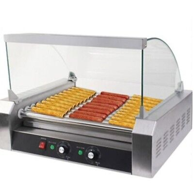 Commercial 11-Roller Grill Cooker Machine 30 Hot Dog Roller Stainless Steel