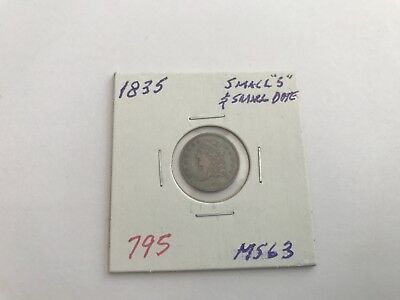 1835 H10C Small Date Small 5C Capped Bust Half Dime