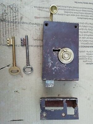 Antique vintage French Lock  Door and 2 keys Brass Genuine