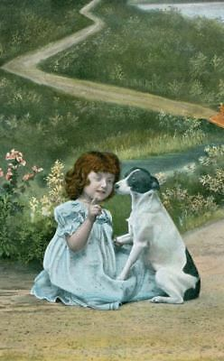Rare Dog Postcard Smooth Fox / Jack Russell Terrier Kissing Child Germany c1908