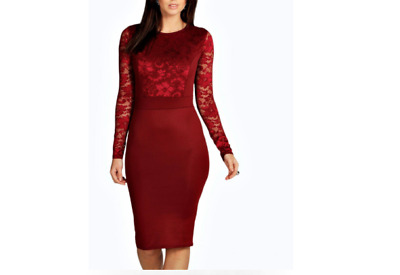 877b219718a1 BOOHOO WOMENS ANNA Lace Long Sleeve Bodycon Midi Dress in Berry size ...