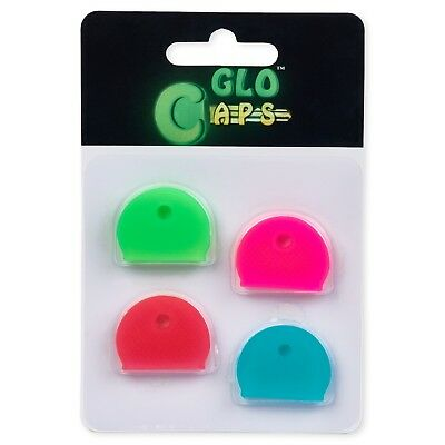 Glo Caps, Glow in the Dark, 4 Pcs Key Caps, Rubber Key Identifier, Color Coded