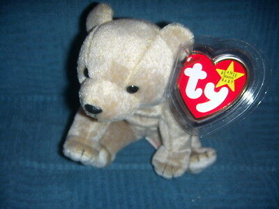 Retired Ty Beanie Baby Almond The Beige Bear NEW W/TAG PROTECTOR ERROR