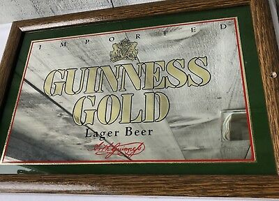 """VINTAGE Imported GUINNESS GOLD Lager Beer Mirrored Sign (15.25"""" x 10.5"""")"""