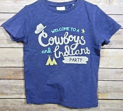 45156491 ZARA Toddler Blue Welcome to a Cowboys and Indians Party T-Shirt New 18-