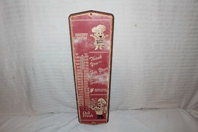 "Vintage 1960's Super Food Bread Bakery 24"" Metal Gas Oil Thermometer Sign~Works"