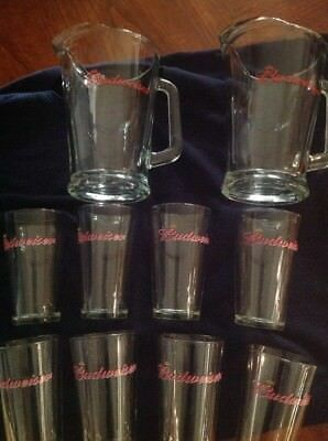 2-Budweiser Glass Pitchers And 8-Glass Cups