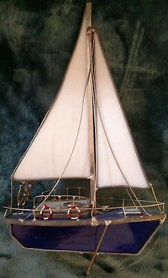 Vintage blue & white Stained Glass Sailboat 9023-B1