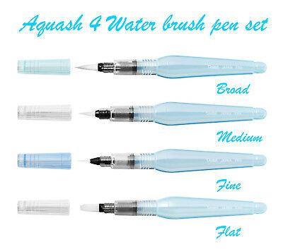 Pentel Aquash Water Brush 4 Pen set - Fine, Medium, Broad and Flat brush pens
