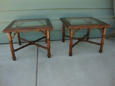MID CENTURY HOLLYWOOD Regency Faux Bamboo Lane Coffee End Tables - Bamboo end table glass top