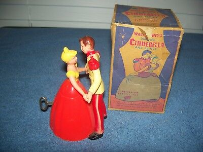 "Vintage Walt Disneys Dancing Cinderella & Prince Wind Up Toy 5"" w/ Box"