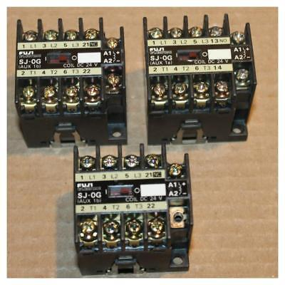 One FUJI ELECTRIC SJ-0G MAGNETIC CONTACTOR 24VDC Coil