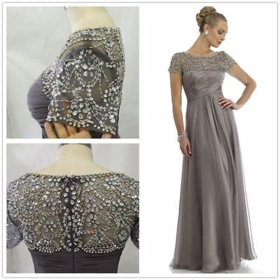 Gray Chiffon Mother Of the Bride Dress Short Sleeve Beading Formal Gown Plus