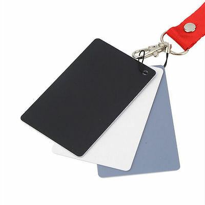 3 in 1 Digital Balance Cards 18% Grey White Black for Photography Pocket-S fS