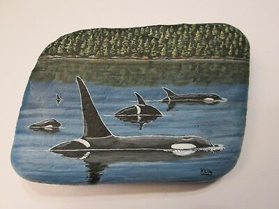 Orca Killer Whales hand painted on a rock by Ann Kelly