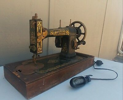 WHITE SEWING MACHINE Vintage 4040 PicClick Custom 1913 White Rotary Sewing Machine