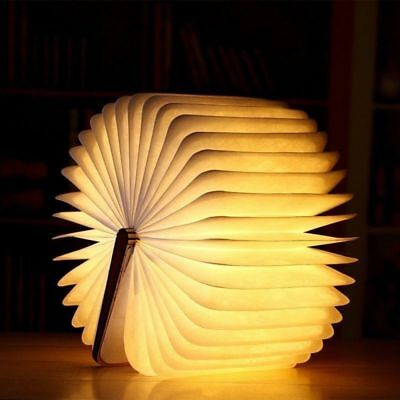 Warm Light Book USB Rechargeable Magnetic Wooden Folding LED Lights Nightlight