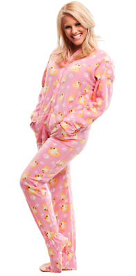 Unisex Yellow Ducks Pink Fleece Footed Pajamas - Adult Sized Footie Hooded PJ