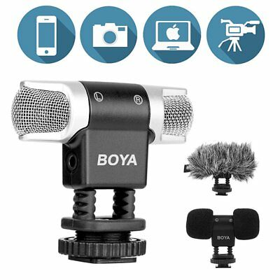 BOYA BY-MM3 Dual Head Stereo Vlog Recording Condenser Microphone for DSLR iPhone