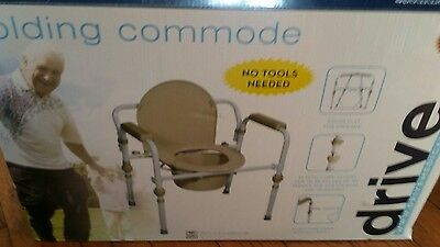 DRIVE MEDICAL Folding Steel Bedside Commode RTL11148 KDR Open Box New