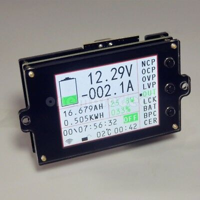 Battery Monitor Meter Wireless DC 120V 100A VOLT AMP AH SOC Remaining Capacity/