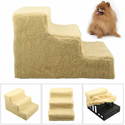 Dog/Puppy/Cat 3 Step Pet Stairs Car/Sofa/Bed Washable Soft Grey Cover Cat Steps