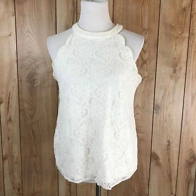 f2ccfbb032 Monteau White Scalloped Lace High Neck Sleeveless Blouse Large Tank Top