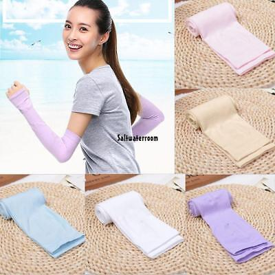 Cooling Arm Sleeves Cover UV Sun Protection Outdoor Half Finger Ice Silk TXGT