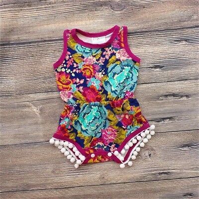 Cute Newborn Infant Floral Baby Girl Romper Bodysuit Sunsuit Clothes Outfits US