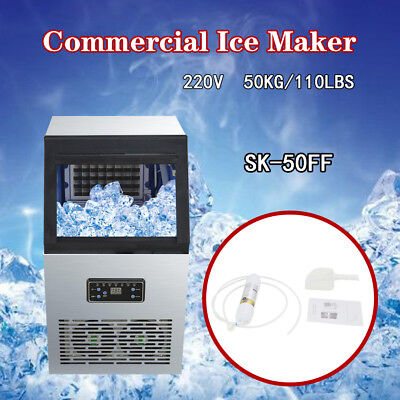 50kg Auto 220V Commercial Ice Maker Ice Cube Machine Restaurant Bar 110Lbs 230W