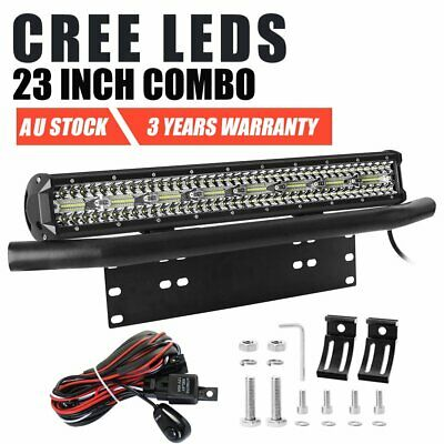 "23 inch Tri-row CREE Combo LED Light Bar + 23"" License Number Plate Frame Black"